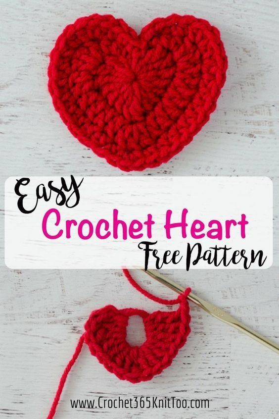 Easy Crochet Heart Pattern | Crochet | Pinterest | Gehäkelte herzen ...