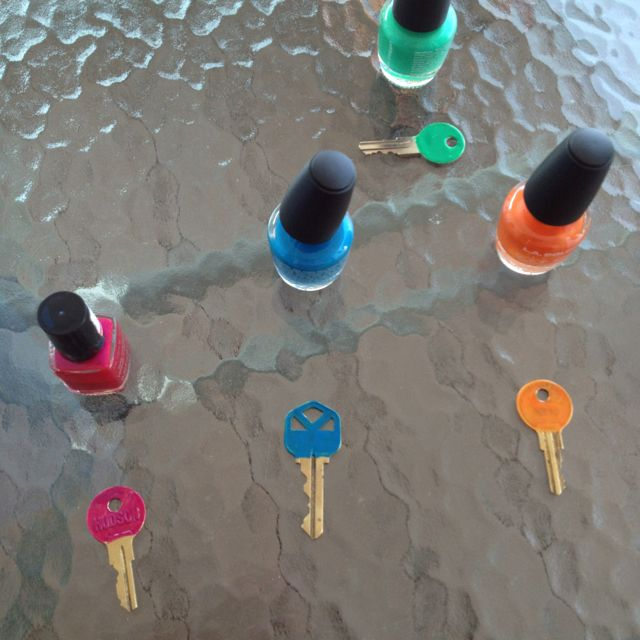 Colour coded our keys with nail polish. Fun with kids
