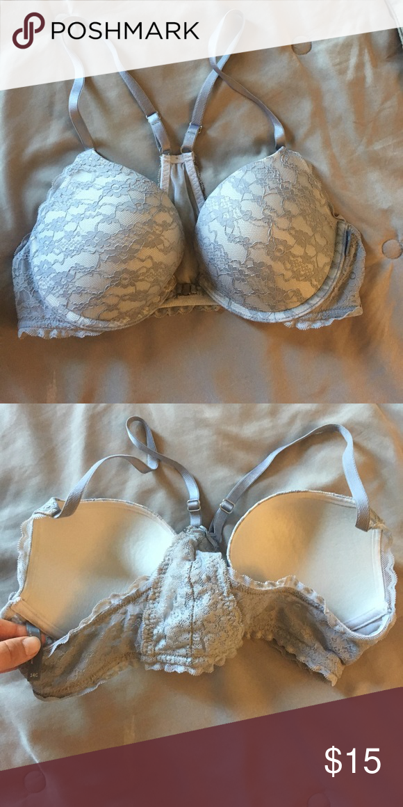 f4aba17e98c38 Aerie Brooke t back bra with front closure Aerie Brooke t back bra with front  closure  gray lace. Moderately worn