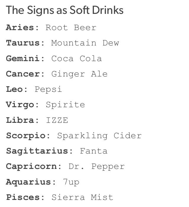 Signs Soft Drinks Zodiac Sign Facts Zodiac Signs