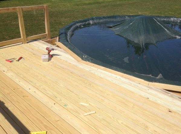 Above The Ground Pool Deck Build To Make Sure Each Board Was Cut