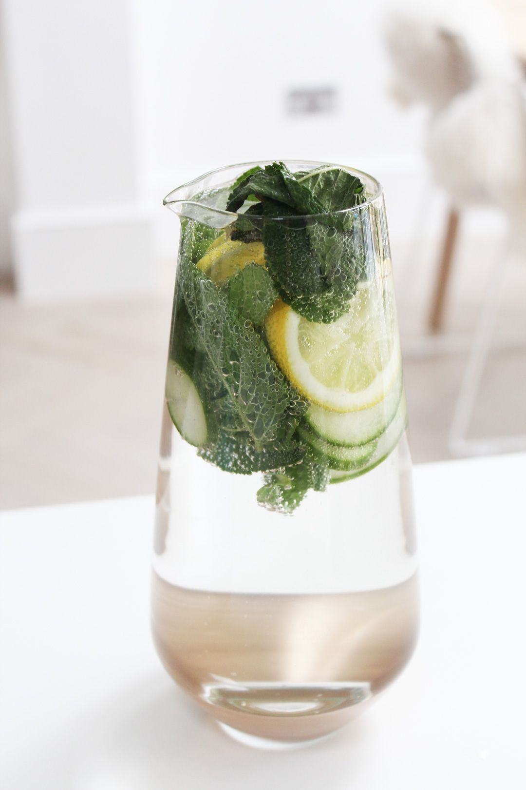 Lemon, mint & cucumber infused water