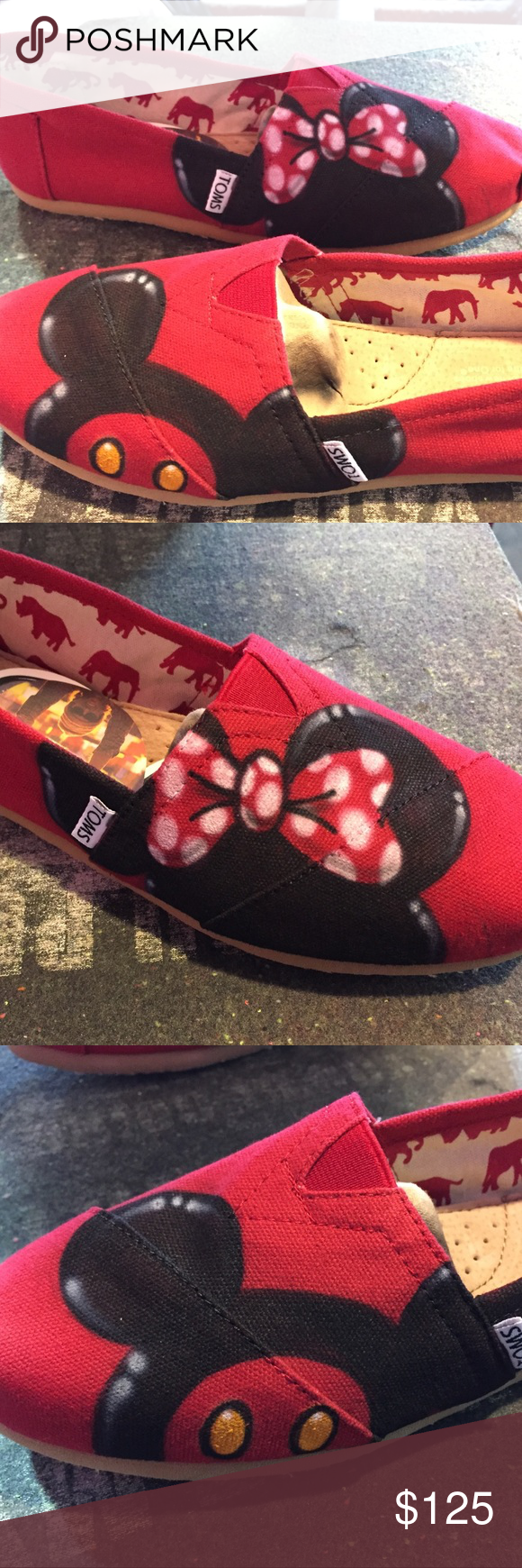 f85df1a21b0 Custom Airbrush Disney Toms Mickey Minnie Mouse Custom made Disney Toms.  New with tags. Any size available. Allow 5 days to ship. Toms Shoes Sneakers