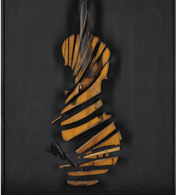 """I'M IN THE WRONG BUSINESS: This piece of """"art"""" fetched £91,000 in a Christie's Postwar and Contemporary Auction last February. Is it just me who can't see beyond it being the cheapest sort of Mirecourt ink-purfled violin being sliced in a bandsaw and mounted on a board with the assistance of a tube full of crazy glue? """"24eme Caprice de Paganini""""? My backside!"""