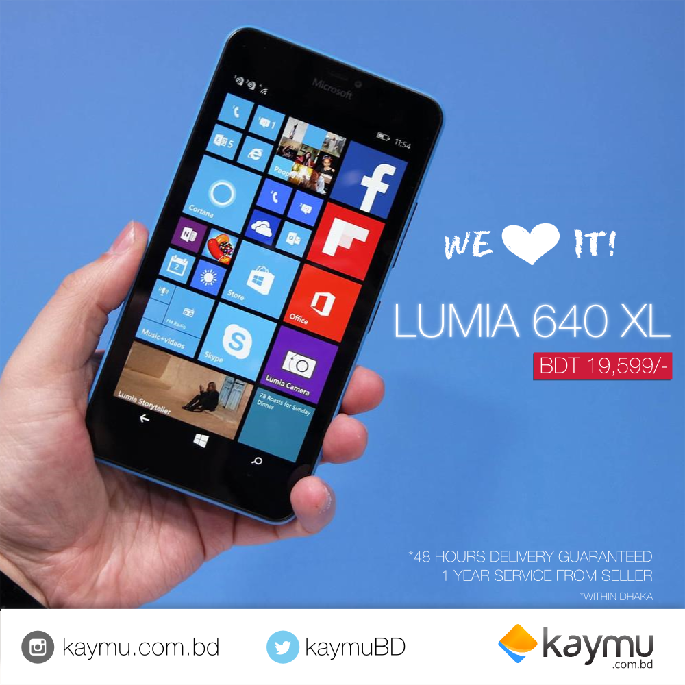 Get the new Microsoft LUMIA 640 XL Online from Kaymu! ▶ http://bit.ly/1CeXKWn Take stunning selfies with 5 Mp front facing camera along with powerful 13 MP camera to capture your favorite moments, anywhere!
