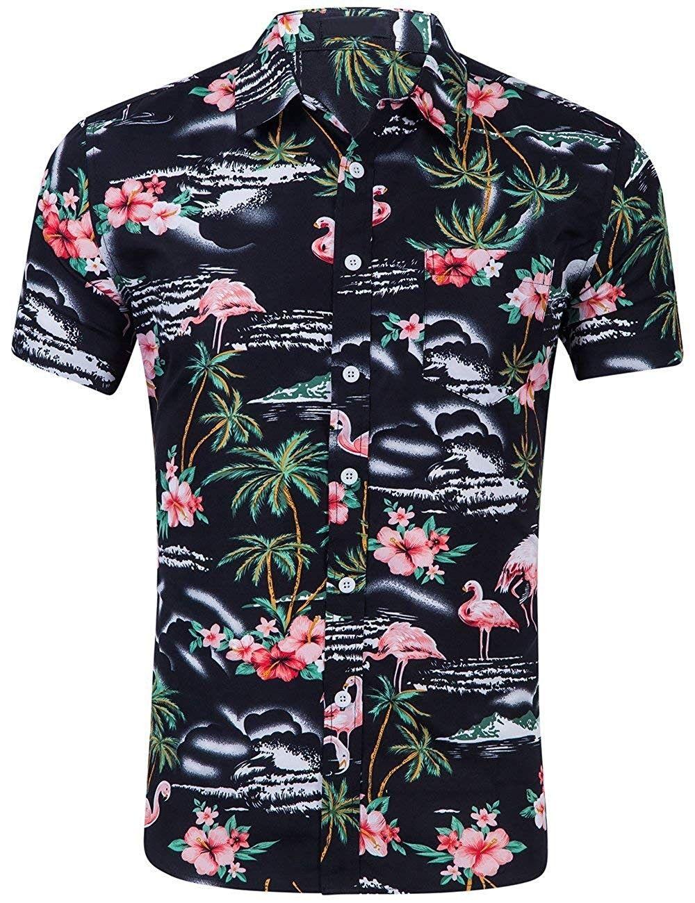 Men/'s Shirts Casual T-Shirts Hawaii Summer Beach Buttons V Neck Short Sleeve