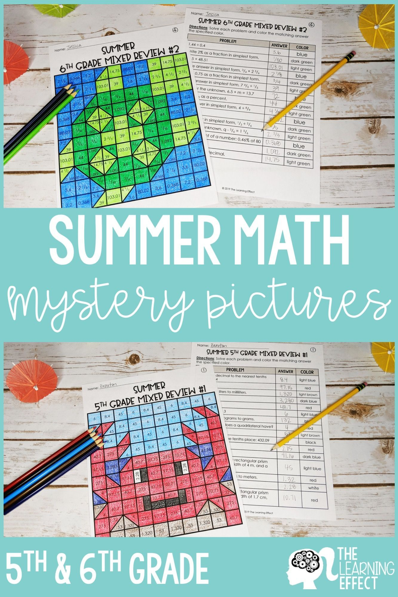 Summer Math Mystery Pictures