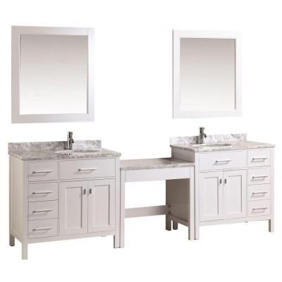 Design Element Two London 36 In W X 22 In D Vanity In White With Marble Vanity Top In Carrara White Mirror And Makeup Table Marble Vanity Tops Single Sink Vanity Vanity Sink