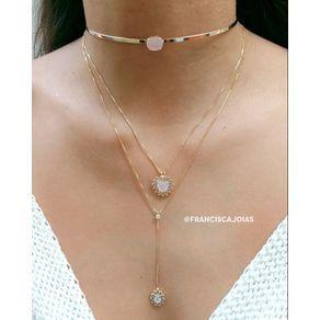 coleira-choker-fina-com-pedra-natural-rosa-folheada-em-ouro-18k-3 ... 2f85d61b72