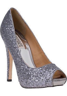 916edad0c12f Badgley Mischka Humbie II Evening Pump Pewter Glitter - Jildor Shoes