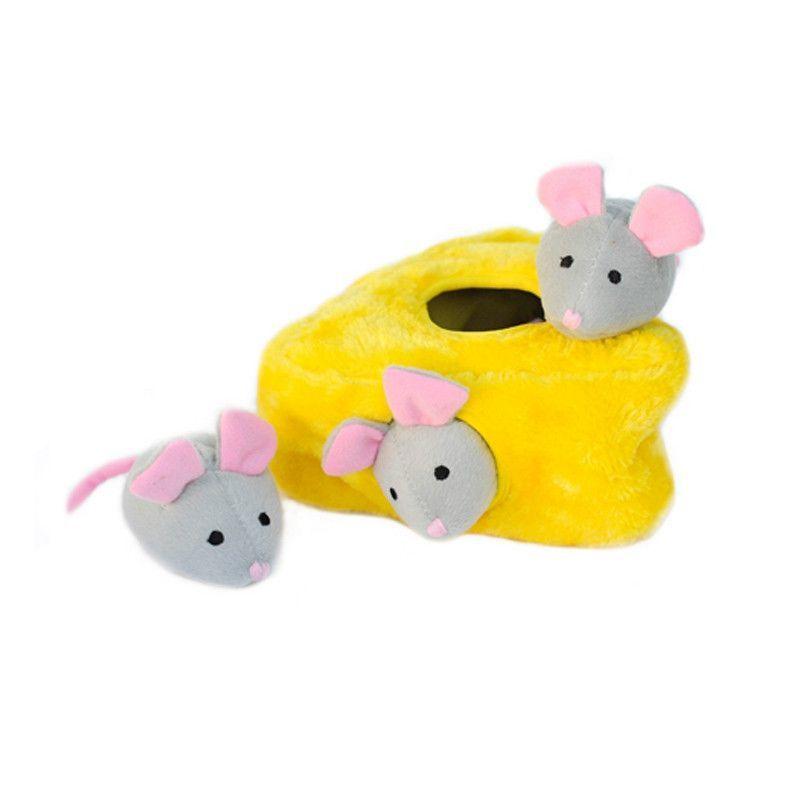 Mice N Cheese Burrow Plush Dog Dog Toys