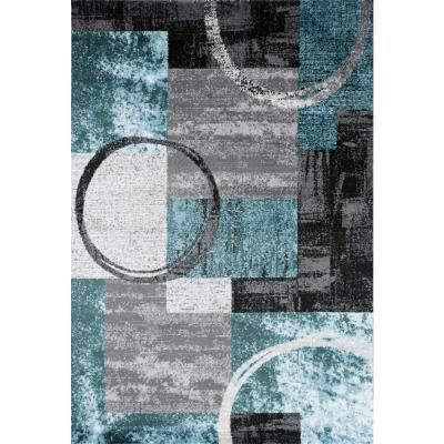 World Rug Gallery Modern Abstract Circle Gray 5 Ft 3 In X 7 Ft 3 In Indoor Area Rug Blue Grey Area Rugs Modern Area Rugs Blue Area
