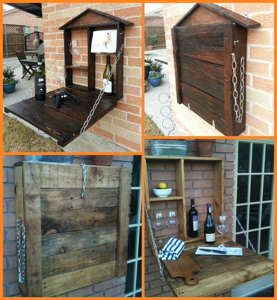 Pallet Fold Down Bar Wall Mounted Pallet Furniture Tutorial Diy Pallet Furniture Pallet Furniture Outdoor