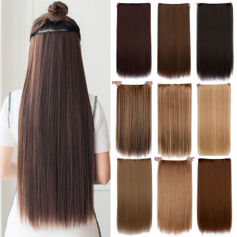 Cheap Hair Extension 24 Long Straight Heat Resistant Synthetic