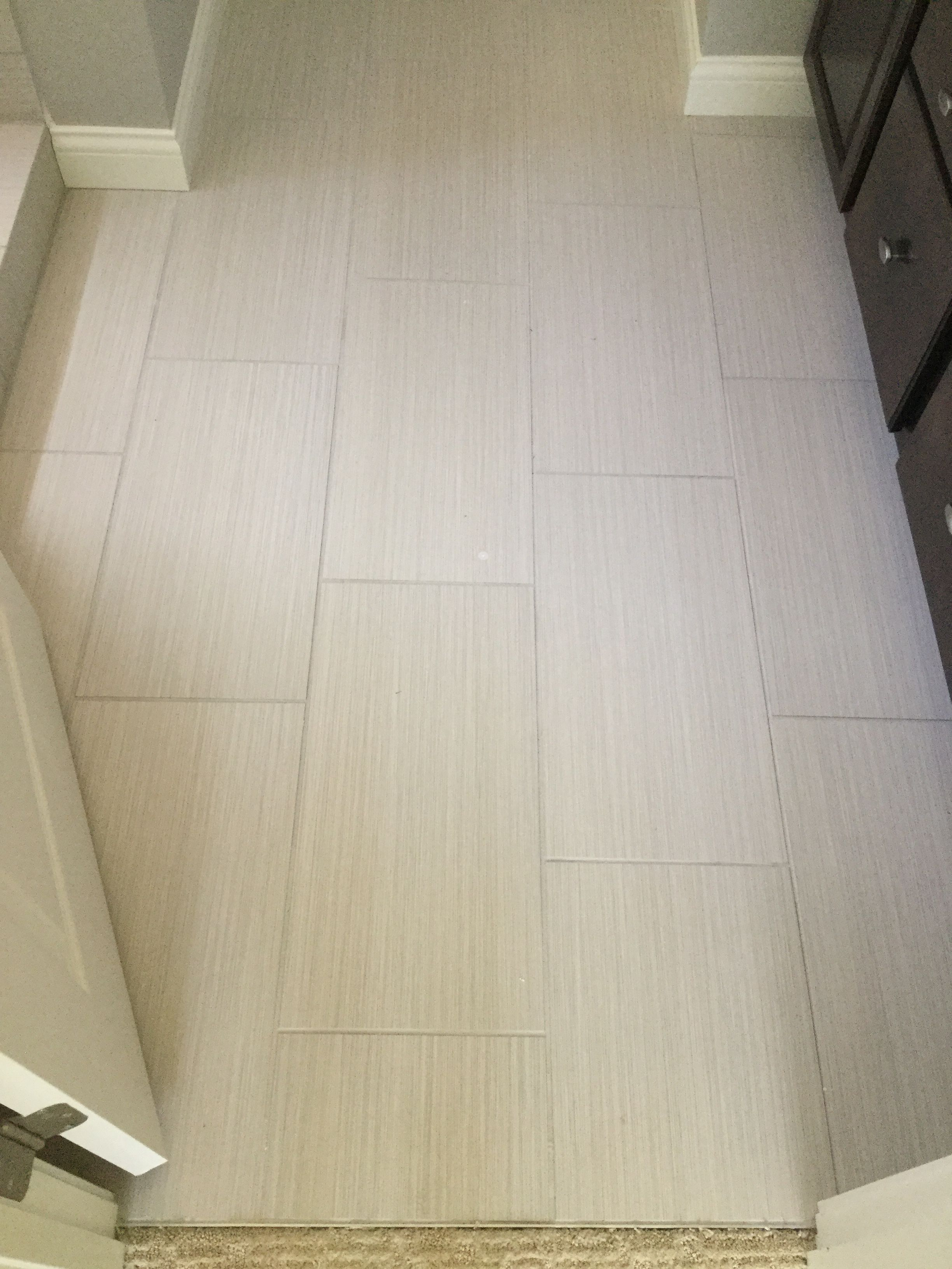 Fabrique Creme Linen 12x24 Tiles Installed Brick Joint