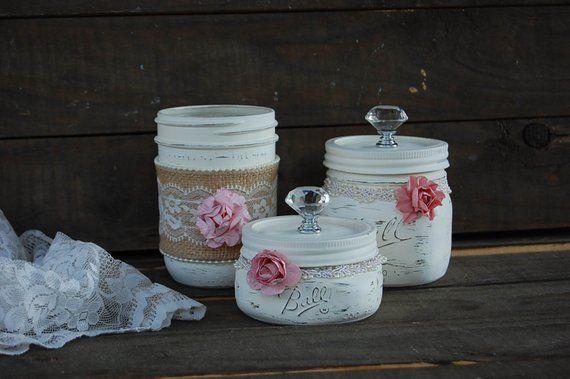 Dresser Jar Set, Mason Jar, Shabby Chic, Dresser Organizer, Bathroom