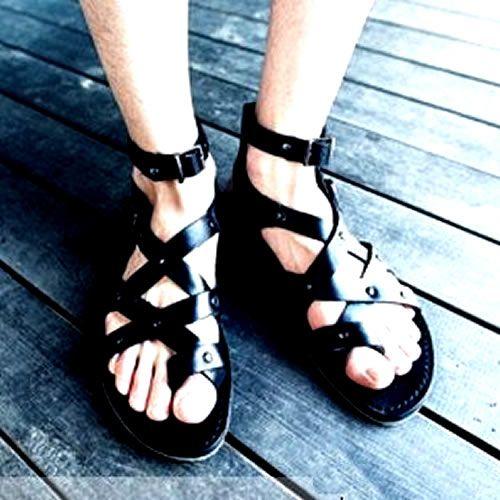a35d0b8aac9 Mens Black Leather Designer Gothic Emo Punk Gladiator Ankle Strap Sandals  SKU-1280048