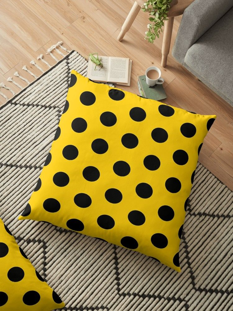 POLKA DOT GOLD' Floor Pillow by tartans is part of Gold Home Accessories Polka Dots - Polka dot is a pattern consisting of an array of large filled circles of the same size  Polka dots are most commonly seen on children's clothing, toys, and furniture, but they appear in a wide array of contexts  • Also buy this artwork on home decor, apparel, phone cases, and more