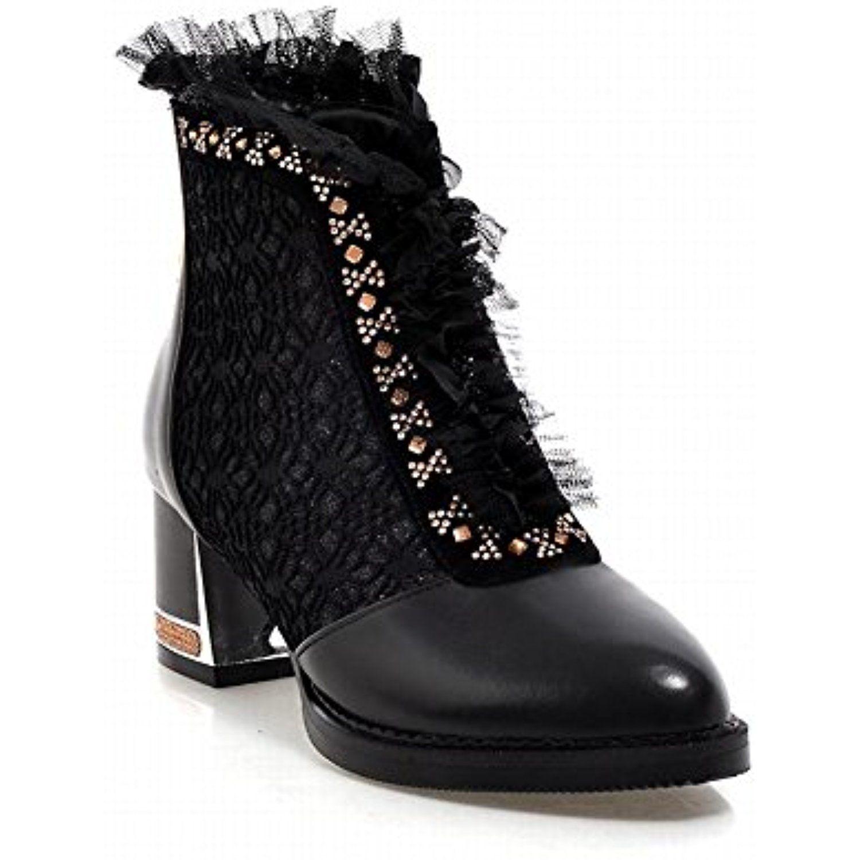 Women's Chic Zipper Lace Rhinestone Fashion Elegance Chunky Mid Heel Dress Boots