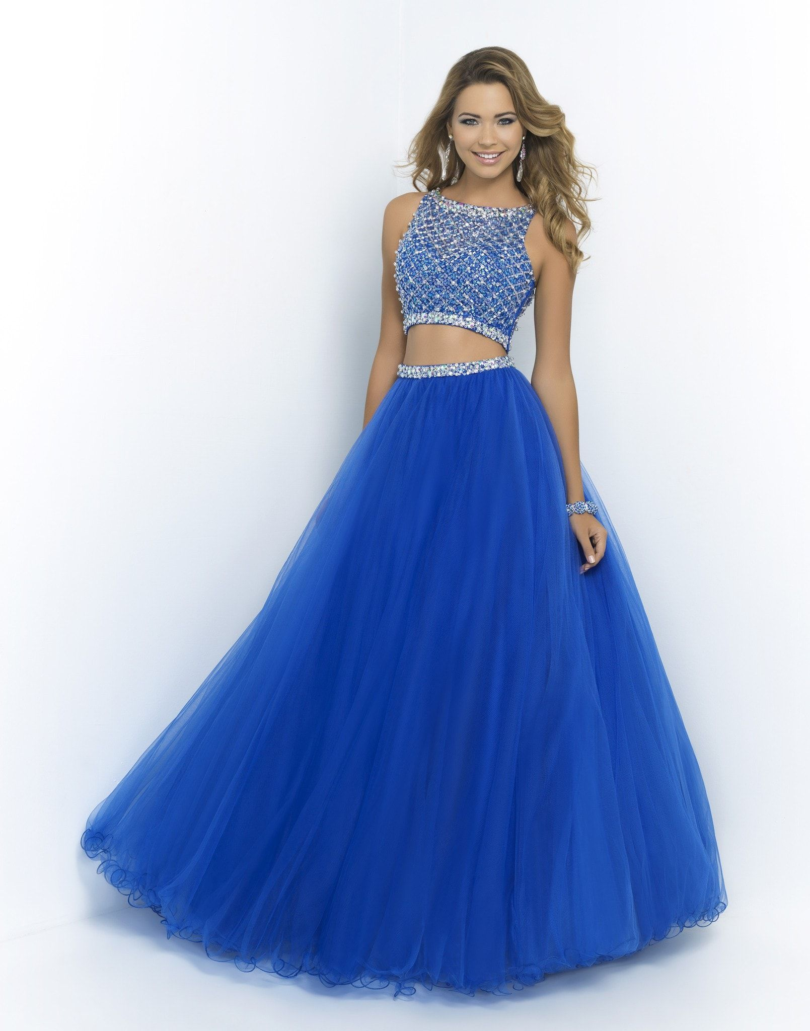 Blush pink brilliant blue ball gown bluesfeeling the blues