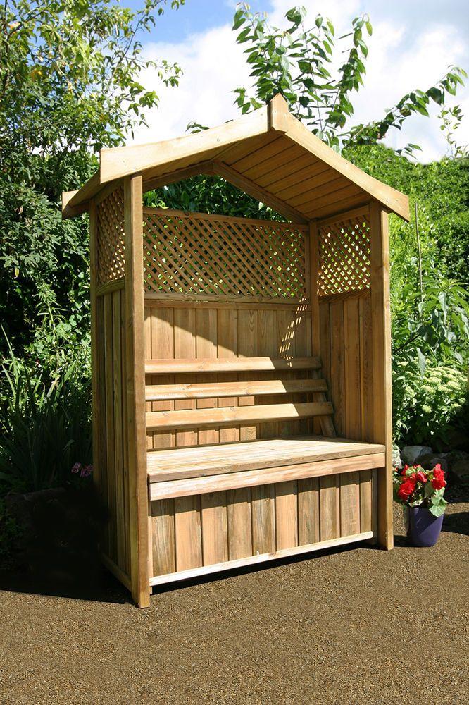 Wooden Arbour Garden Bench With Storage Box In Garden Patio Garden Patio Furniture Benches Ebay Garden Seating Garden Storage Bench Wooden Arbor