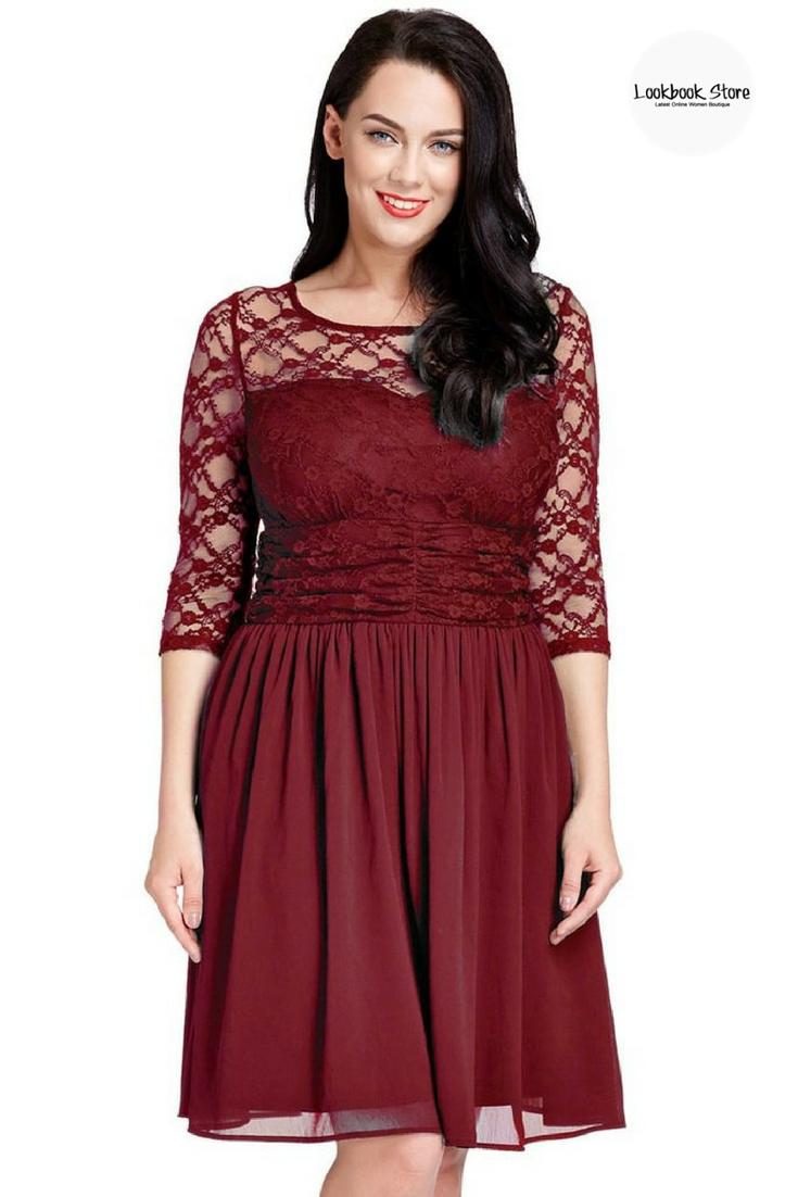 plus size burgundy lace crop-sleeves skater dress