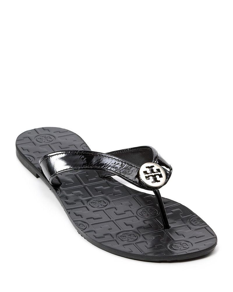 b6451768bacd34 TORY BURCH SALE Thora Thong Leather Sandals Black Silver Logo Flip Flops 7   ToryBurch
