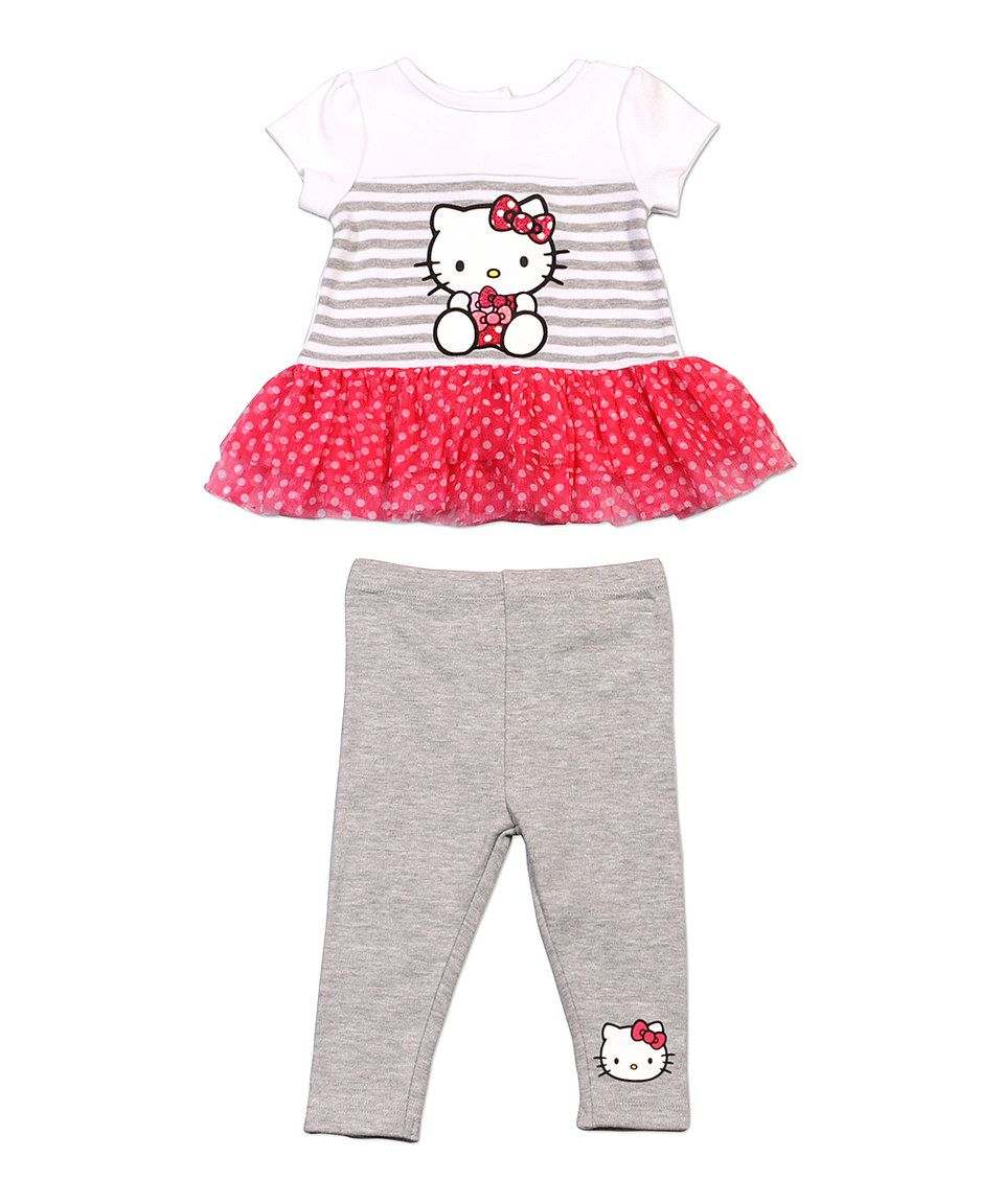Look what I found on #zulily! White & Pink Hello Kitty Tutu Tee & Gray Leggings by Hello Kitty #zulilyfinds