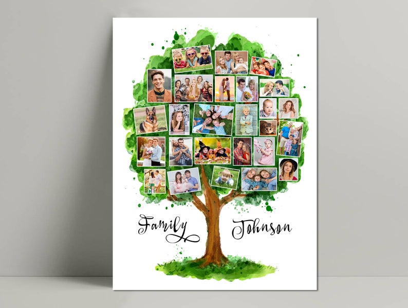 Personalized Gift Art Personalized Family Print Turquoise Wall Art Home Decor Custom Family Tree Art Print