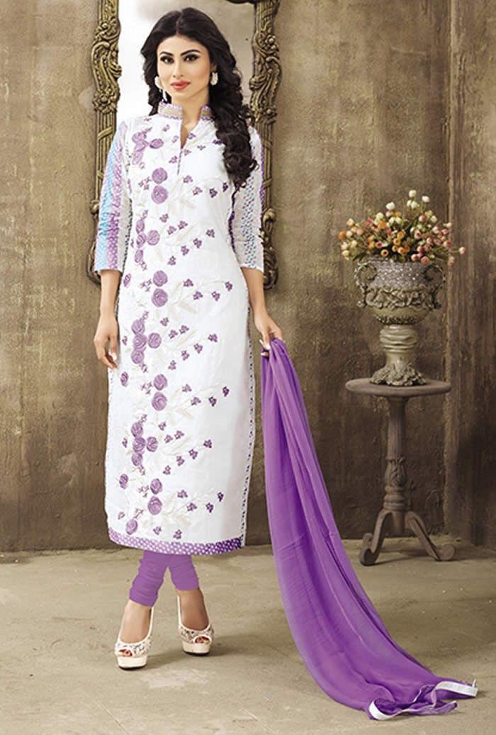 e715cefc899 Mouni Roy Off White Colour Pure Lawn Cotton Salwar Suit Buy Sarees ...