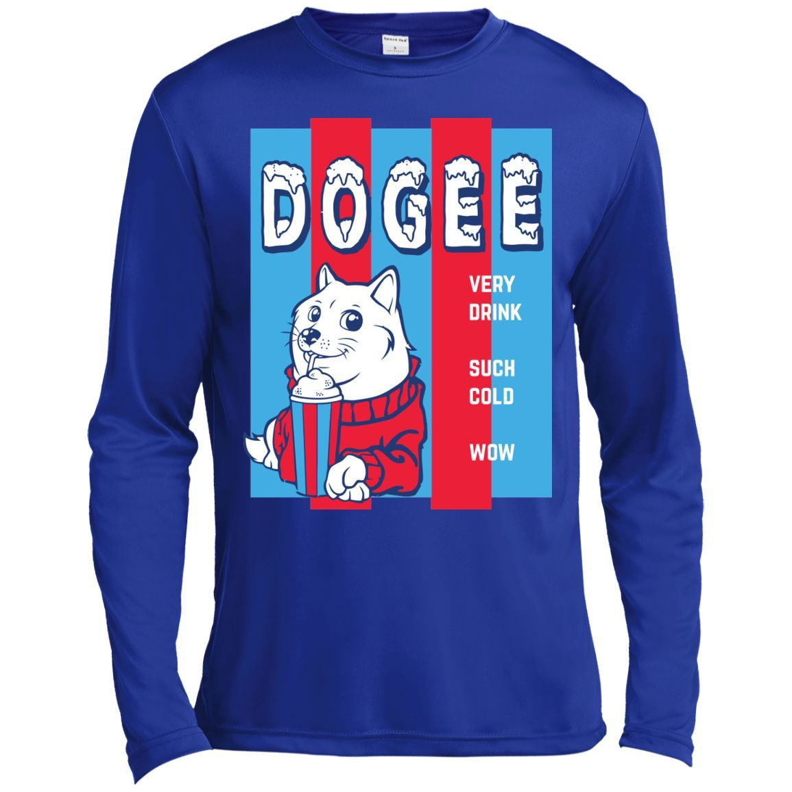 Doge Ice Slushie T-Shirt Funny Doge Meme Shirt -01 Long Sleeve Moisture Absorbing Shirt