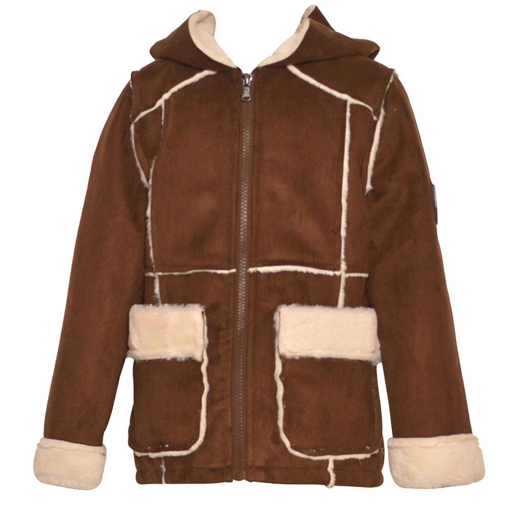 Your girl will look awesome with this Urban Republic coat. She will definitely feel warm and cozy on chilly days. The tan coat will provide a plush comfort with its faux fur accents. The coat a comfy hoodie, faux fur cuffs and pockets, full zipper closure