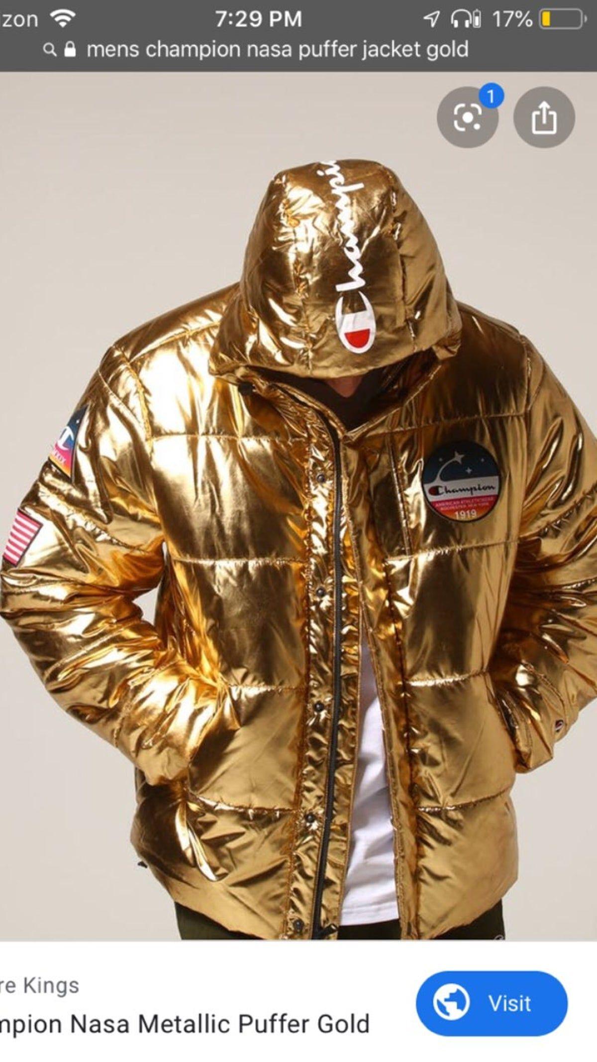Pin By Viktoriya Florchuk On Zolotij Bomber Mens Gold Puffer Jackets Motorcycle Jacket [ 2133 x 1200 Pixel ]