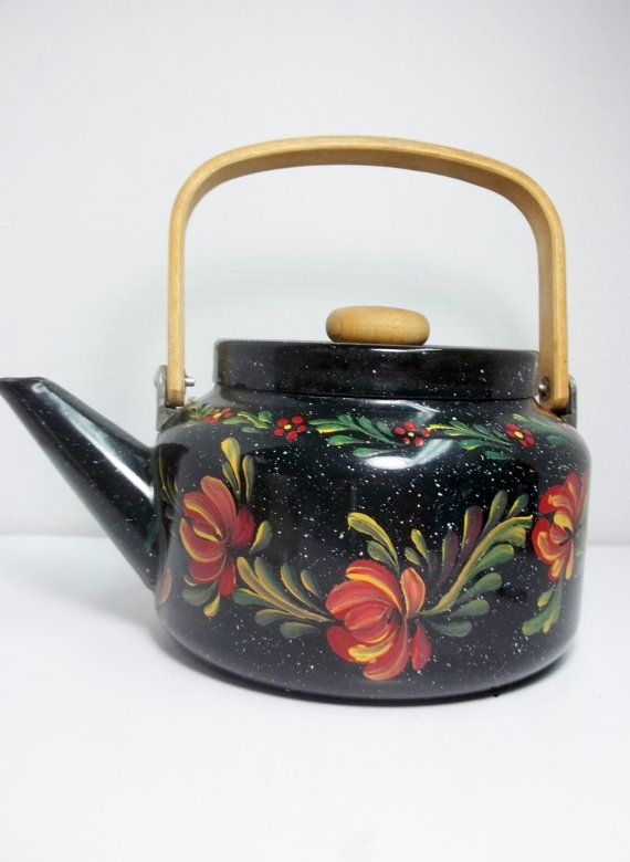 Black Enamelware Tea Kettle Tea Pot Hand Painted by FolkArtByNancy