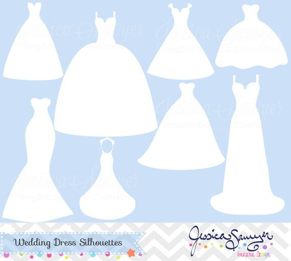 Wedding Gown Silhouette: White Wedding Dress Clipart, Silhouette Clipart, For