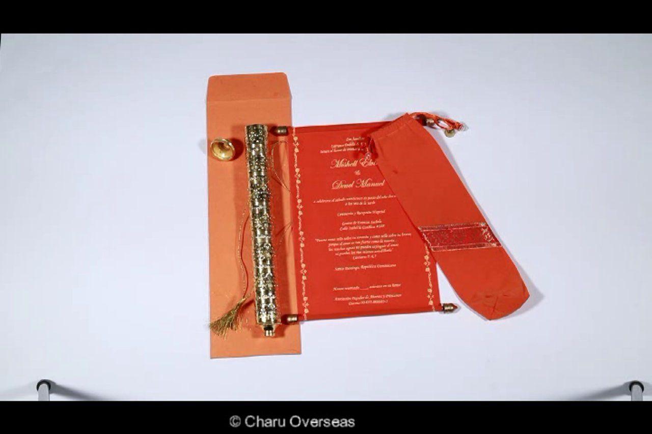 Ethnic Scroll design orange colored Scroll Wedding invitation made ...