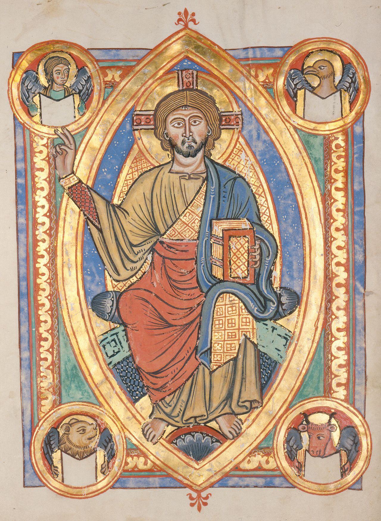Lionofchaeronea Christ Enthroned Surrounded By The Animal Symbols