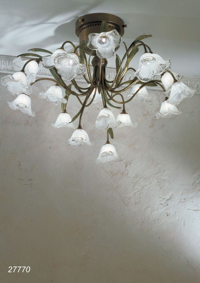 Ceiling lamp made in brass and blow glasses made in Murano - Venice