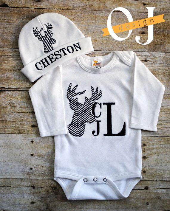 ed6467a47 Personalized Baby Boy Deer Newborn Hat Onesie - Name Boy Navy Blue ...