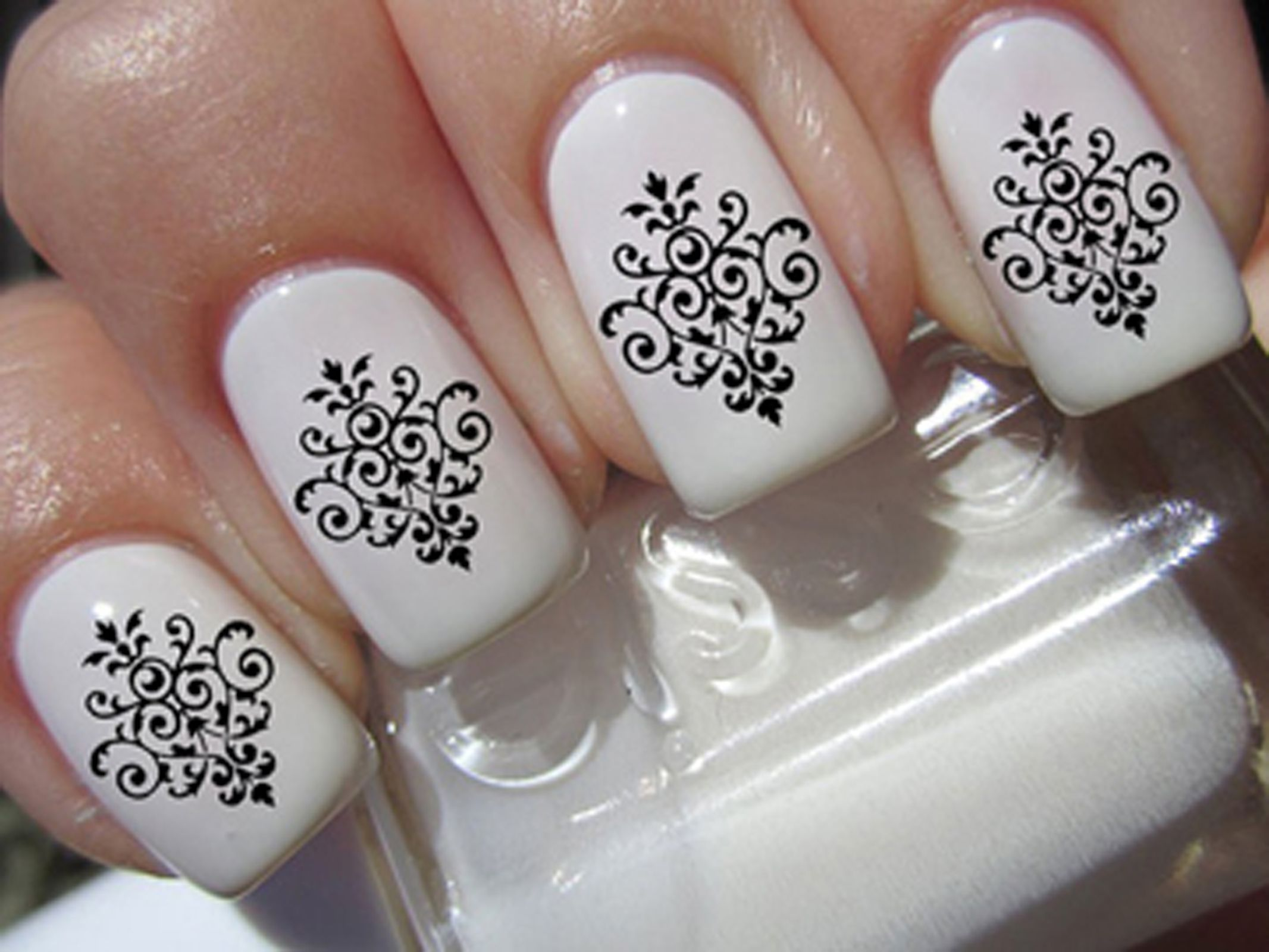 Black Lace Damask Nail Art Decals Dmb Damask Stencil Pinterest