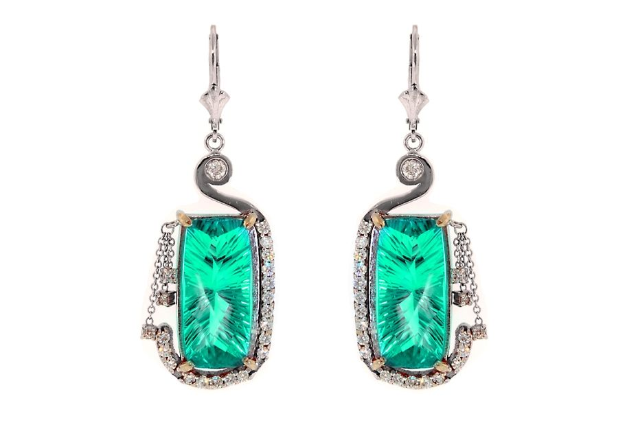 Natural Blue Afghanistan Tourmaline Earrings with Diamonds in 14K White Gold