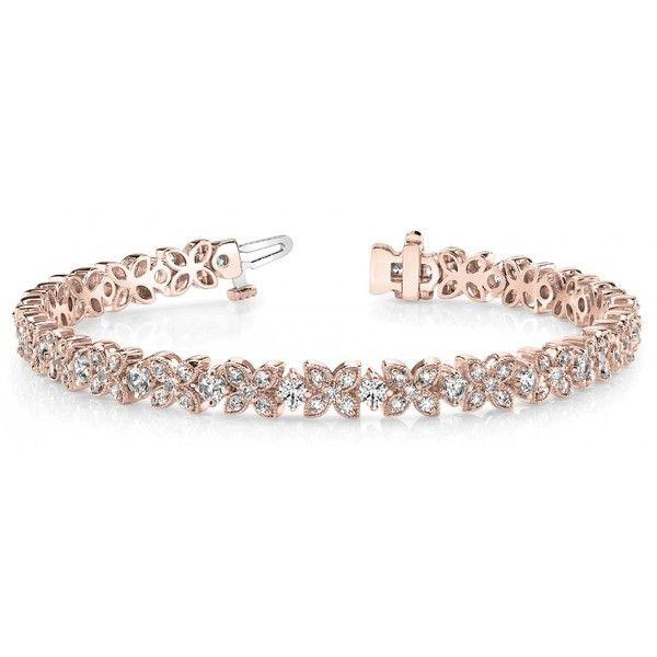 Allurez Diamond Floral Style Tennis Bracelet 18k Rose Gold 4 16ct 9 130 Liked On Polyvore Featurin White Gold Bangle White Gold Jewelry Diamond Bracelet