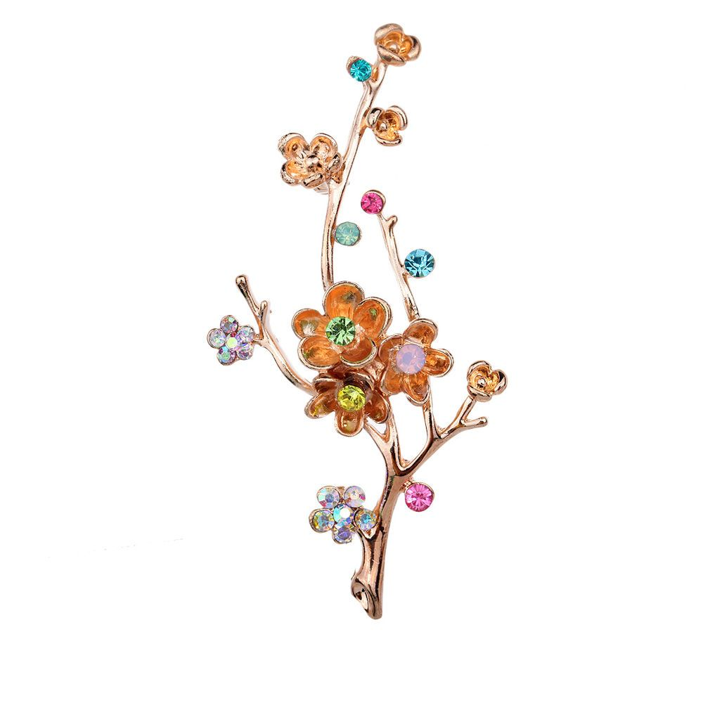 Yazilind Vintage Branch Flower Leaves Colorful Crystal Gold Plated Brooches and Pins for Wedding Bouquet k9jYrEk18O
