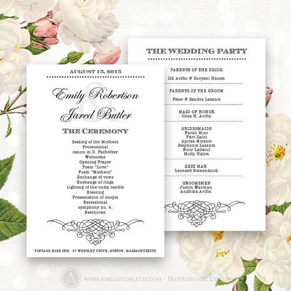 printable wedding programs editable template instant download