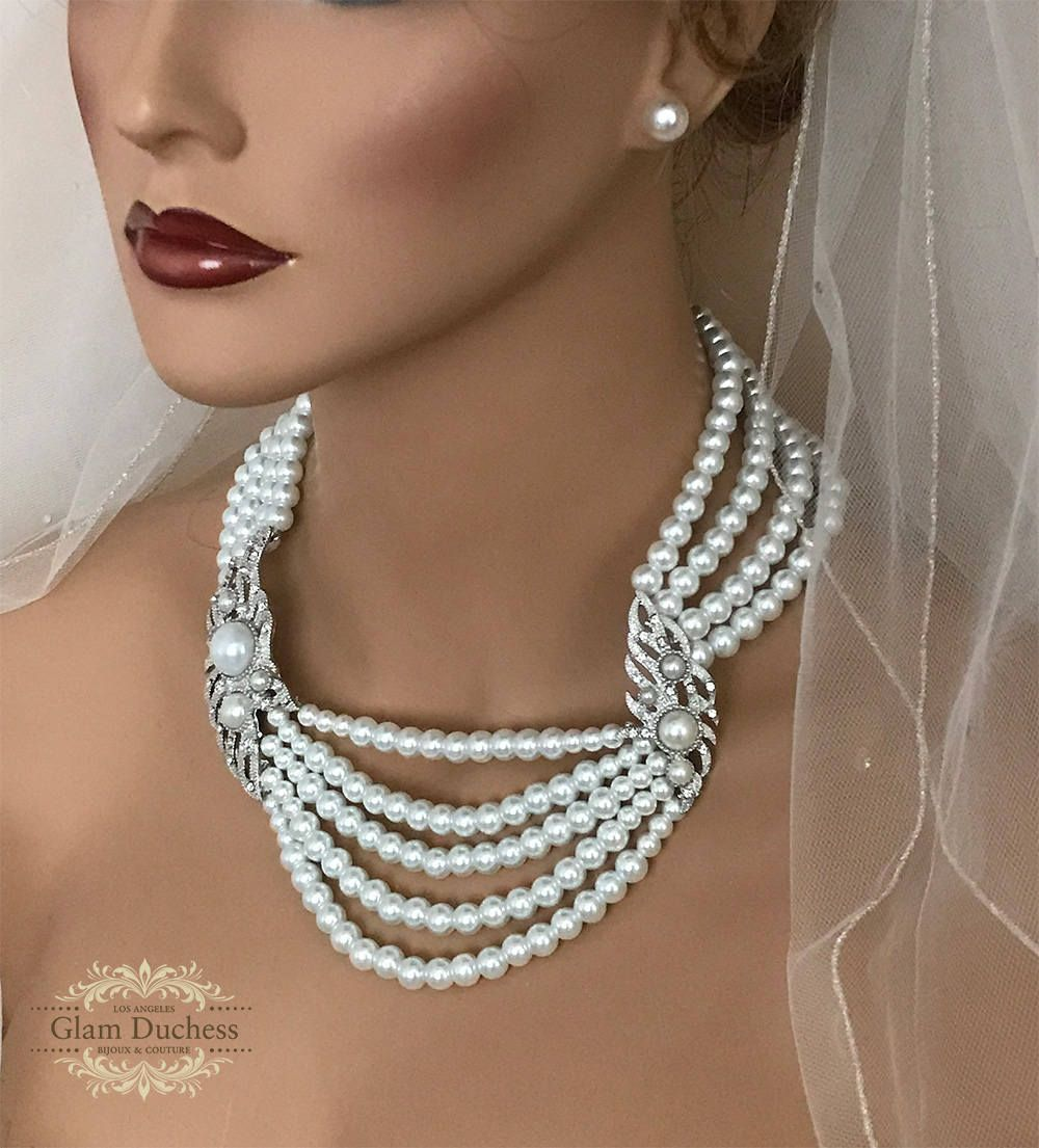 17aadccdb1d44 Multi Strand Pearl Necklace Set, Multi Layer Necklace Earring Set ...