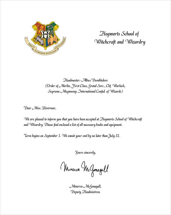 Free 5 Sample Hogwarts Acceptance Letter Templates In Pdf With Harry P In 2020 Hogwarts Acceptance Letter Template Hogwarts Letter Template Hogwarts Acceptance Letter