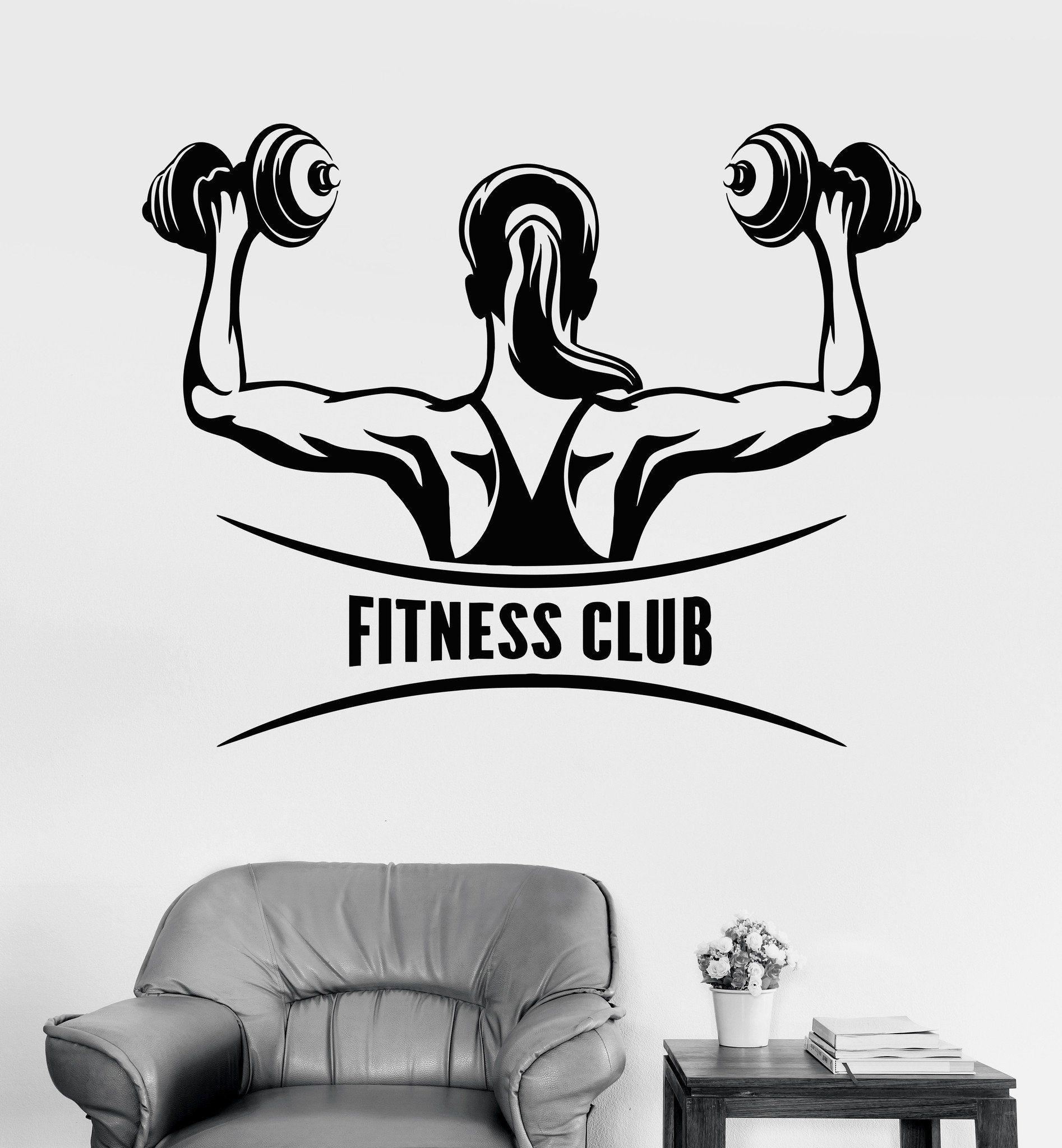 Vinyl Wall Decal Fitness Club Logo Woman Gym Girl Motivation Stickers Unique Gift Ig3495 Gym Girls Gym Women Fitness Club