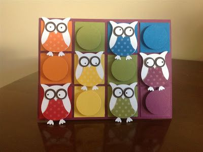 Rainbow Owls---    Cardstock - Daffodil Delight, Pumpkin Pie, Real Red, Old Olive, Pacific Point and Rich Razzleberry, Whisper White and Early Espresso. DSP - Designer Series Paper Stack Brights. Other - Owl Punch