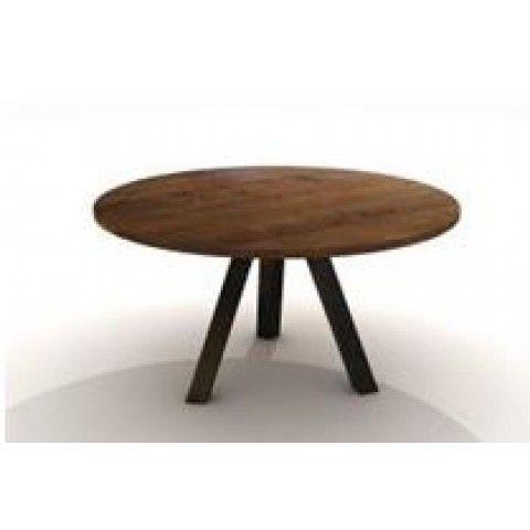 Pyöreä Ruokapöytä kierrätyspuusta 130 Iron