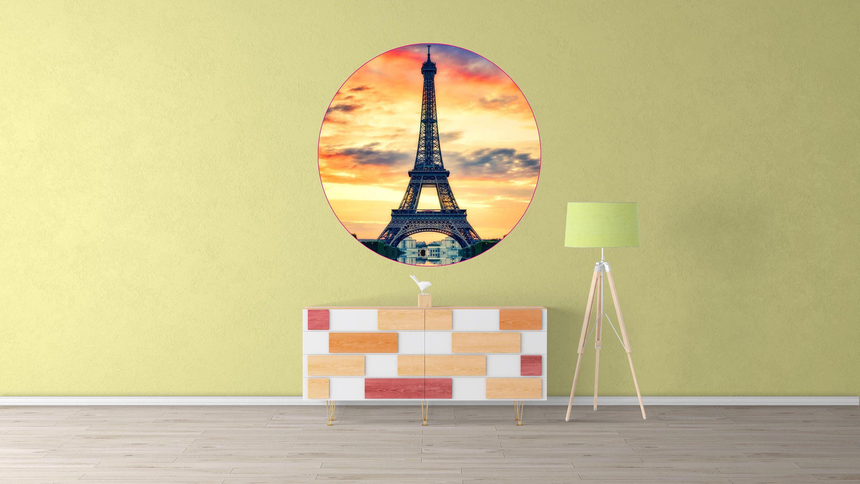 Eiffel Tower Circle Wall Decal, Eiffel Tower Wall Sticker, Living ...
